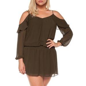 DEX Cold-Shoulder V-Neck Dress